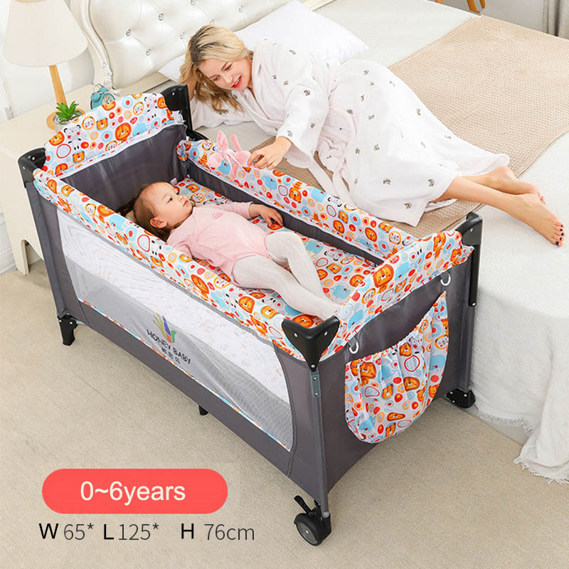 Luxury Crib Brotish Splicing 125cm Large Removable Multi-function Portable Folding Newborn Baby Sleep Bedside Bed Cradle Bed