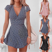 Mini Dress V-Neck Vestido Party Loose Floral-Print Cotton Casual Short-Sleeve Linen Oriental-Style