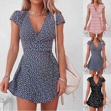 Mini Dress Short-Sleeve V-Neck Oriental-Style Cotton Loose Floral-Print Casual Women