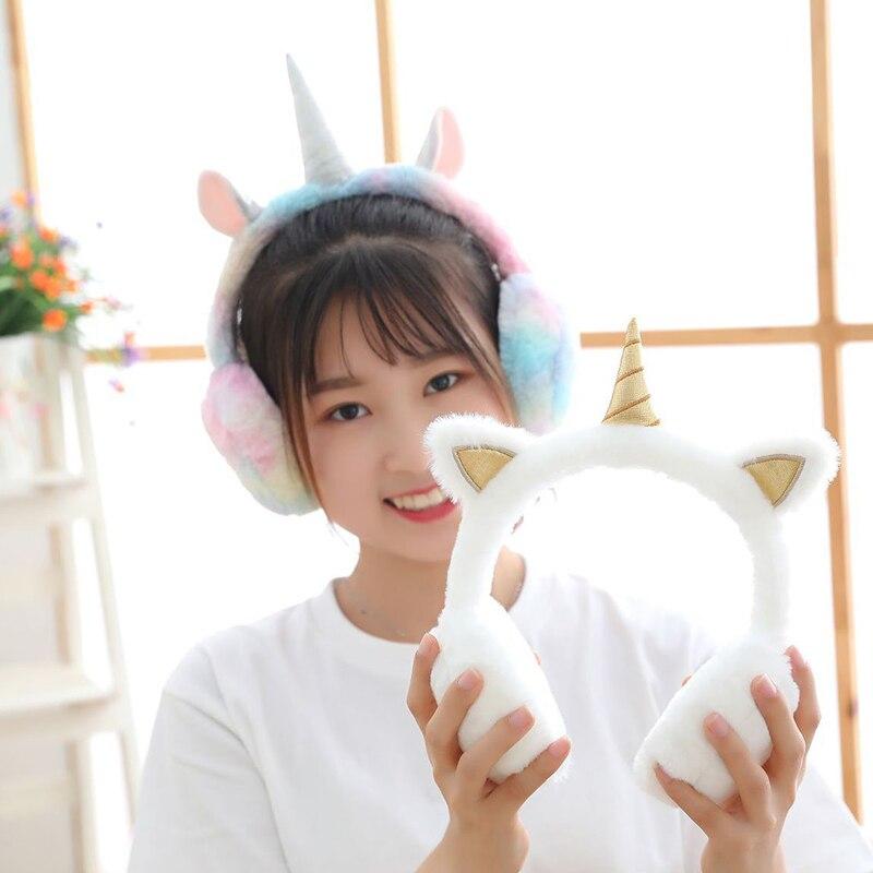 Warm White Rainbow Unicorn Headphones Cute Sweet Girls Winter Ear Muffs Women Accessories Ear Cover Warmers Ear Protectors