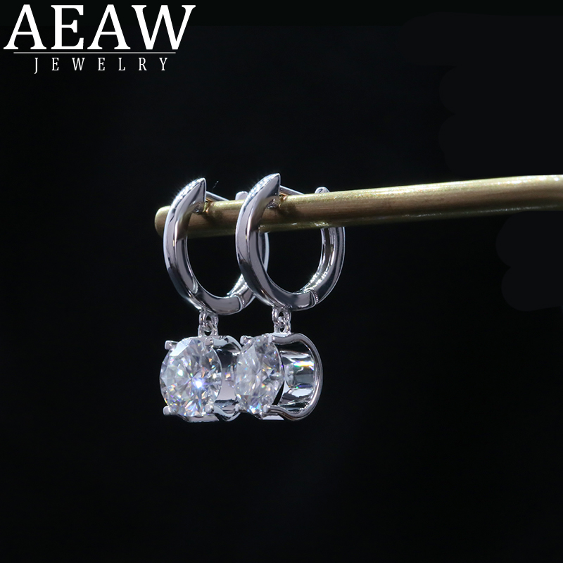 AEAW Solid 14k White Gold 6.5mm 1.0ct Total 2.0ctw Round Cut Bridal Dangle Moissanite Drop Earring for Women
