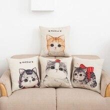 Gran oferta, cojines baratos, bonito estampado de gato, cojín decorativo para el hogar, funda de almohada Vintage de algodón y lino, almohadas cuadradas, regalo de Novela