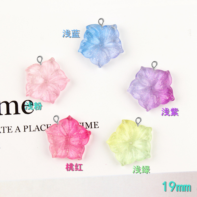 10pcs 19mm Resin Kawaii Cabochon Gradient Flower Charms Diy