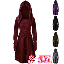 Fall Fashion Solid Plus Size Hooded Cosplay Red Dress Cotton Vintage Long Sleeves Knee Length Women Clothes