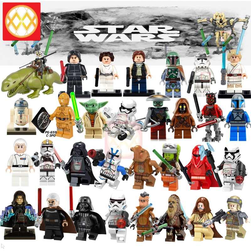 Space Wars Last Jedi Force Awakens Luke Leia Yoda Han Solo Darth Vader Snowtrooper Darth Sidious Building Blocks Bricks Gift Toy