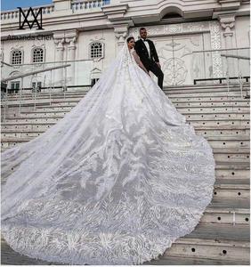 Image 3 - Роскошное Свадебное платье Дубая с кружевной аппликацией и длинным рукавом