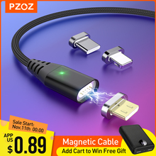 PZOZ كابل مغناطيسي شحن سريع كابل مايكرو usb نوع c شاحن مغناطيسي usb c سلك ميكروشب آيفون 11 برو X Xs Xr شاومي10pro redmi note 9s pro max k30 شاحن ايفون سلك شاحن ايفونtype c iphone cable الهاتف المحمول الكابلات