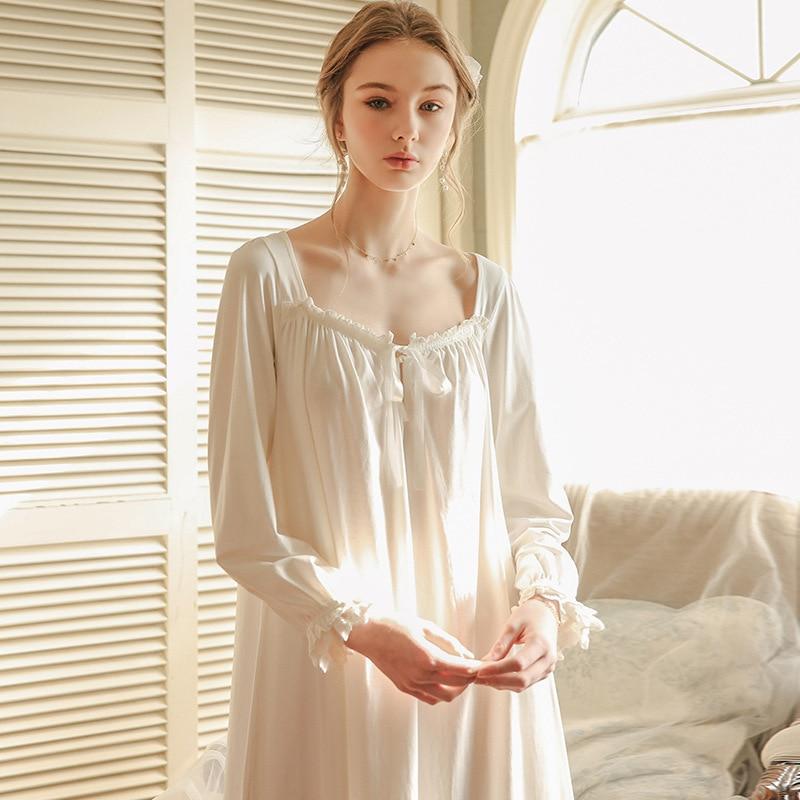 Pink White Nightgown Sleepwear Women Spring Autumn Long Sleeve Nightdress Loose Women Princess Nightgown Comfortable