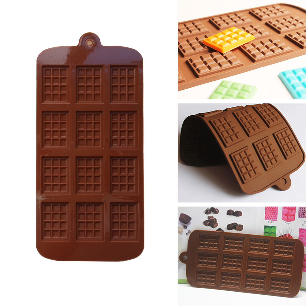 Silicone Mold 12 Even Chocolate Mold Fondant Molds DIY Candy Bar Mould Cake Tools Decoration Kitchen Baking Accessories