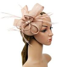 Женская Цветочная шляпка с перьями Свадебный ободок вечерние сетчатые головные уборы