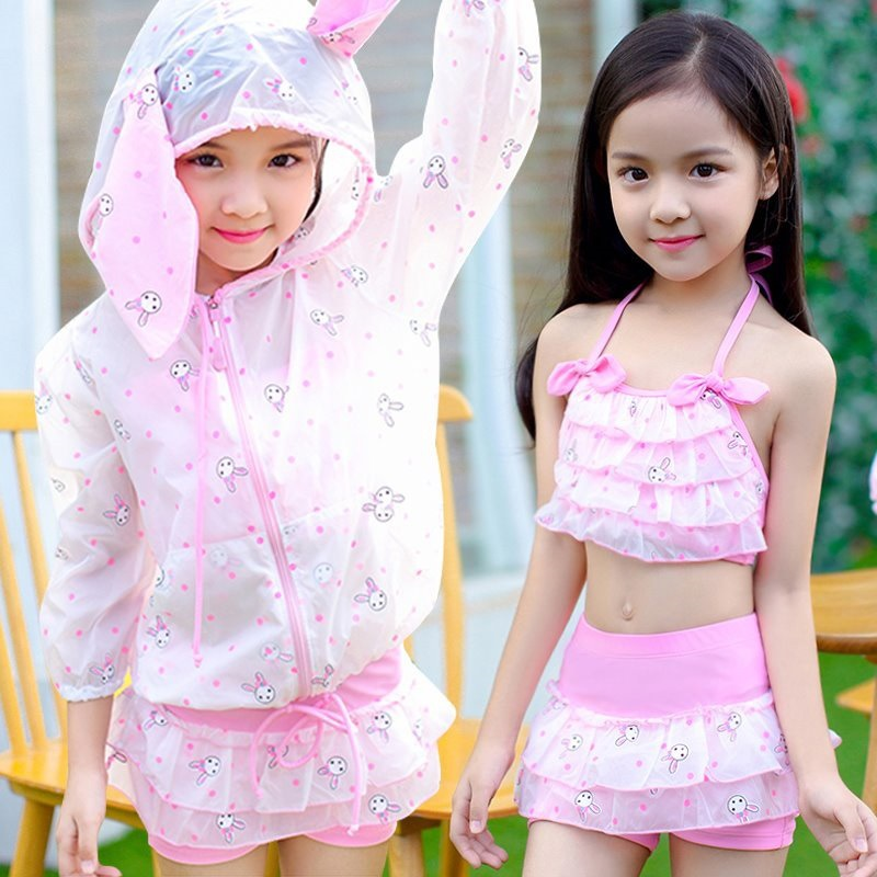 KID'S Swimwear Three-piece Set Large Children GIRL'S Princess Split Skirt-Long Sleeve Baby Girls Hot Springs Tour Bathing Suit