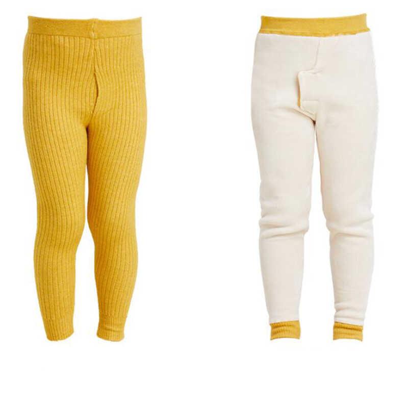T crianças calças quentes calças de inverno crianças calças 0-15 bew Cordeiro cashmere calças leggings meninas do bebê menino malha de Pelúcia calças de lã calça