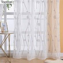Topfinel natural bordado sheer cortinas para sala de estar quarto elegante fio bordado branco voile painel