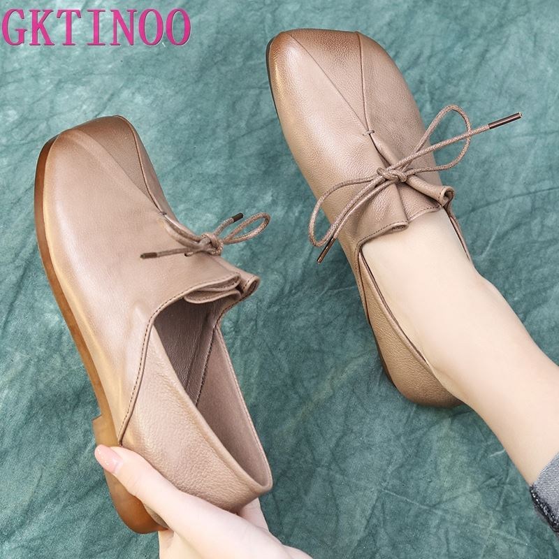 GKTINOO 2020 Handmade Shoes Woman Slip On Loafers Vintage Genuine Leather Women Flat Shoes Shallow Leather Shoes Female