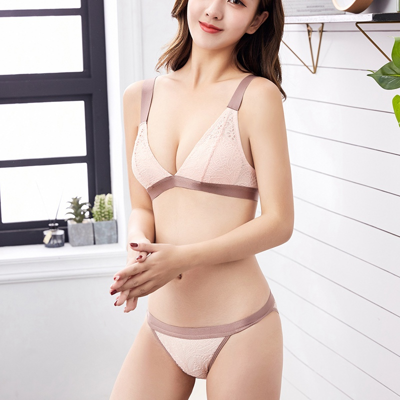 Women Bras Set Thin Vest Wide Shoulder Strap Without Steel Ring Lace Jacquard Triangle Cup Bra + Thong NS