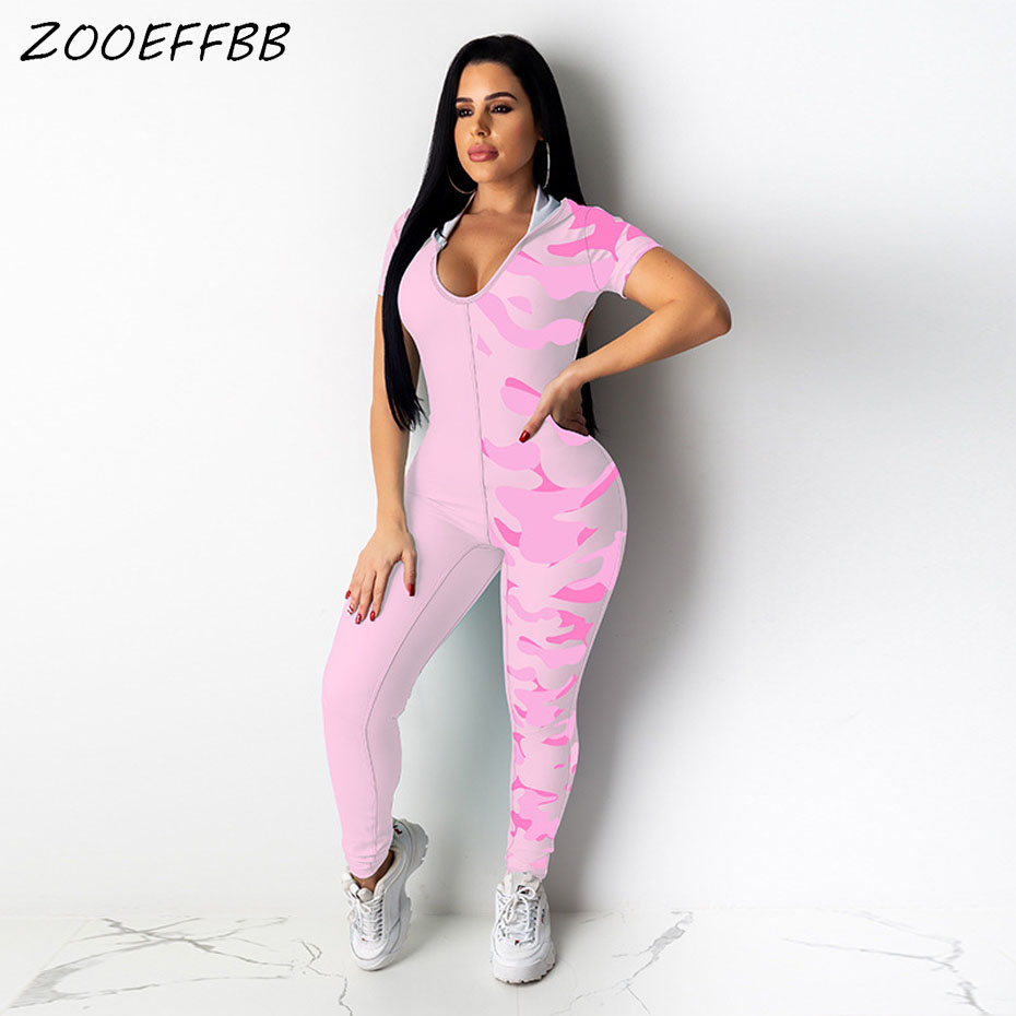 ZOOEFFBB Camo Splice Sexy Short Sleeve Bodycon Jumpsuits For Women 2020 Summer Club Outfits One Piece Backless Rompers Overalls