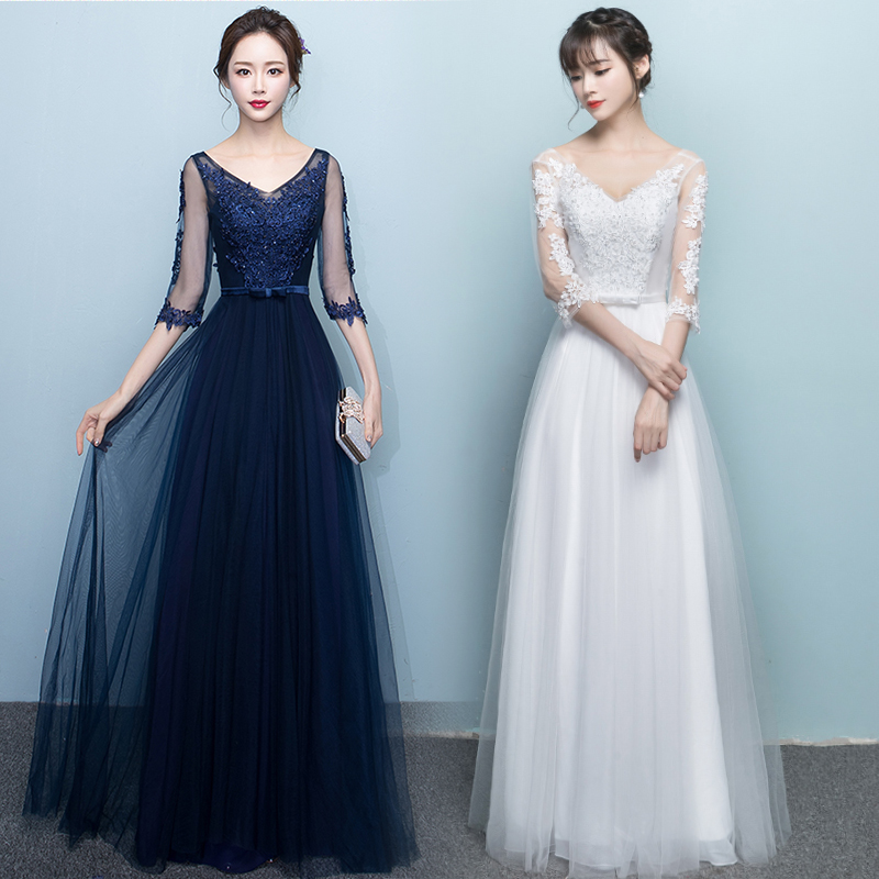Red Bridesmaid Dress Sister Vestido Largo Sirena Woman Dress For Party And Wedding V-neck Embroidery Royal Blue Sexy Prom Dress