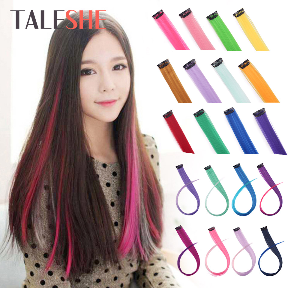 TALESHE Long Straight Clip In One Piece Hair Extensions 20 Inch 50cm Synthetic Fake Hair For Women Girls Rainbow Color Pink