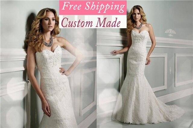 Frete Grtis 2019 Nova Chegada Nova Moda Elegante Sereia Cetim Branco Contas/marfim Vestidos De Noiva Vestido De Noiva Pr-74