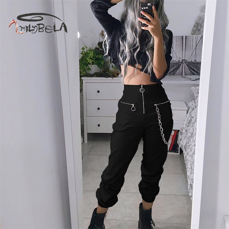 Imily Bela Casual Cargo Pants Women Gothic High Waist Zipper Pencil Pants With Chain Black Sexy Empire Long Trousers Streetwear