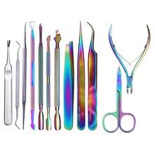 BORN PRETTY Chameleon Rainbow Nail Cuticle Pusher Clipper Scissor Nipper Tweezer Picker Steel Manicure Art Tools