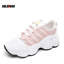 Women's Vulcanize Shoes Lady Casual White Shoes Women Sneaker Black Leisure Thick Soled Shoes Flats Cross-tied Lace Up Soft 2018 winter warm women white sneaker fashion footwear lace up lady shoes with soft fur lining candy color back