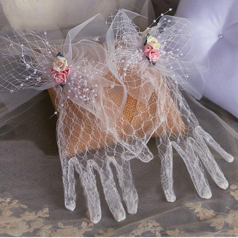 Lace Bridal Gloves Flower Wedding Accessories Hand Chains Bracelet Women Rhinestone Jewelry Bridemaid Bracelets & Bangles