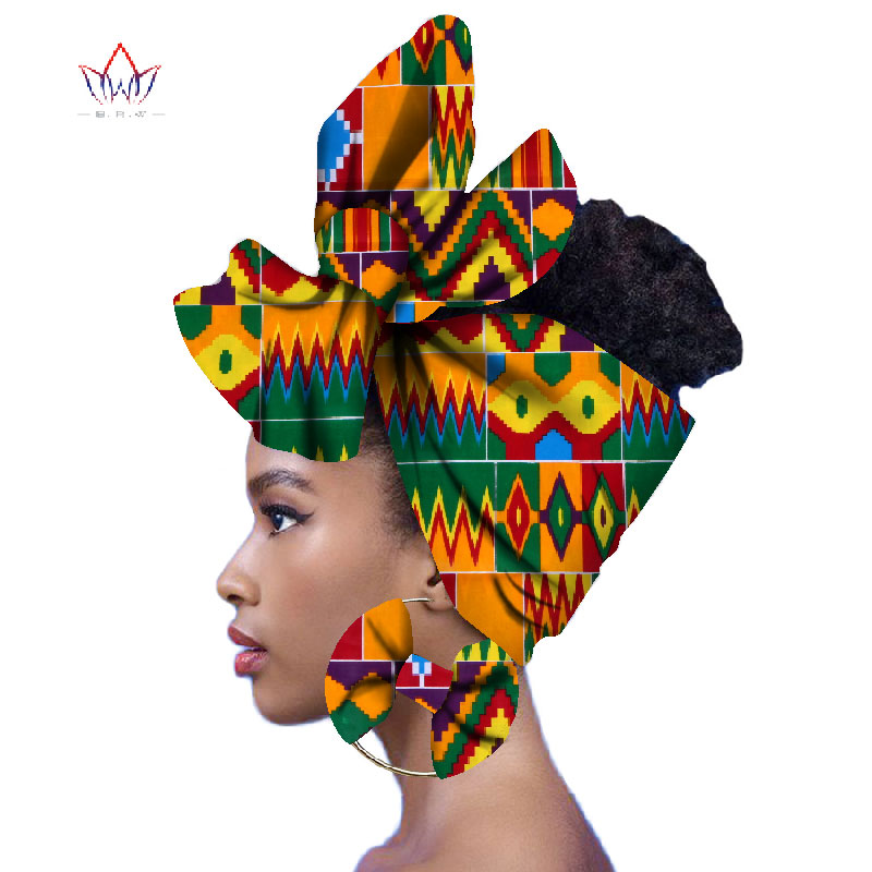 2019 Fashion African Head Scarf And Warrings 2 Pieces Women African Clothing Bazin Rich Headwear Wax Ankara Hairband SP018