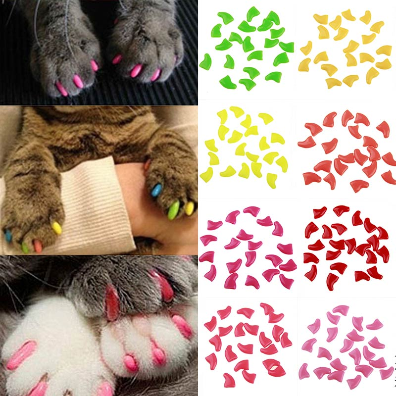 Fashion 20pcs/Set Silicone Soft Cat Nail Caps Cat Paw Claw Pet Nail Protector Cat Nail Cover With Free Glue And Applictor