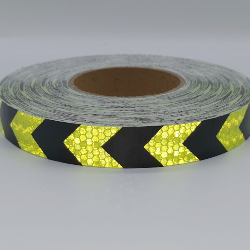 Купить с кэшбэком PET width25mm Safety Mark Reflective tape stickers car-styling Self Adhesive Warning Tape Automobiles Motorcycle Reflective Film