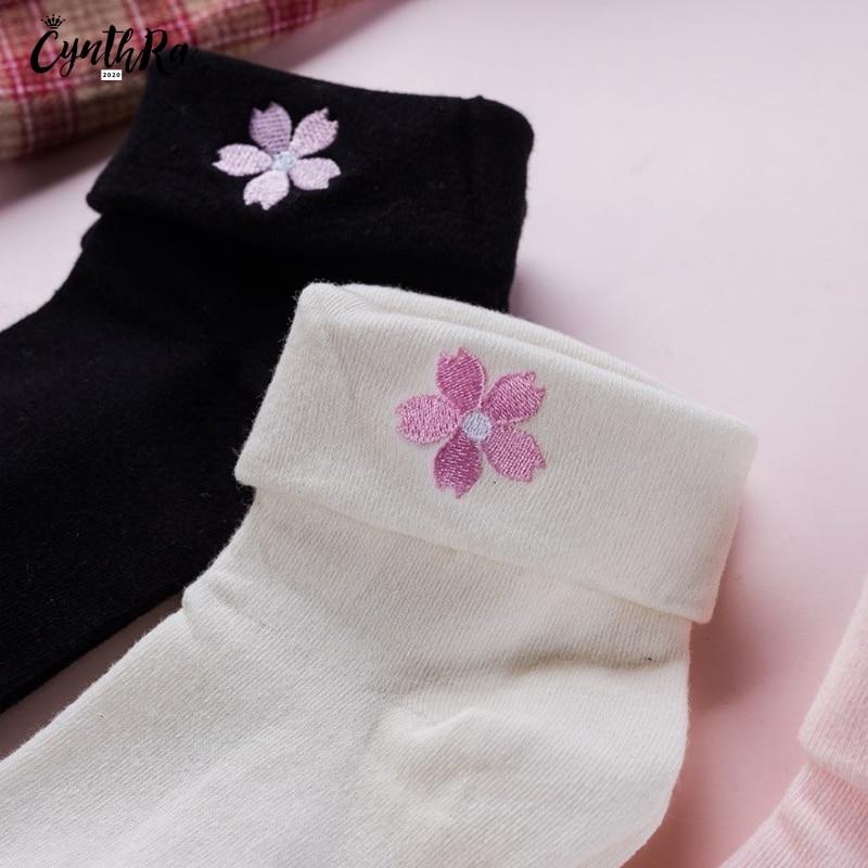 Топ CYNTHRA женщины симпатичные носки японские вышивка отбортовки вишни хлопок среднего трубка женский носки студент носки пар Каваи 2