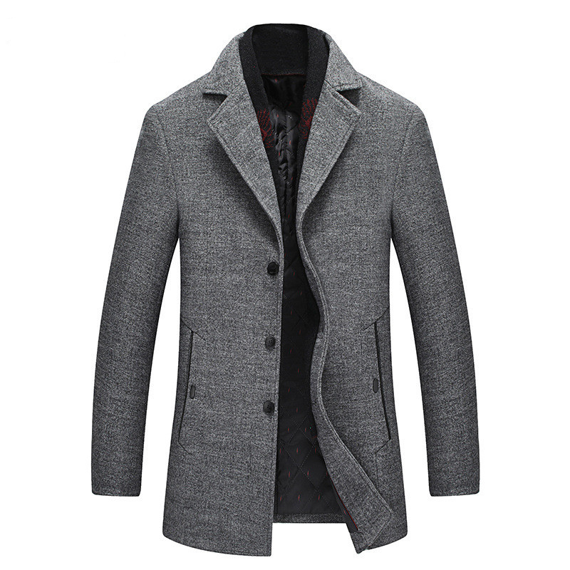 Men Winter Wool Coat 2019 Men's New Casual Warm Thick Solid Color Wool Blends Woolen Pea Coat Male Trench Coat Overcoat