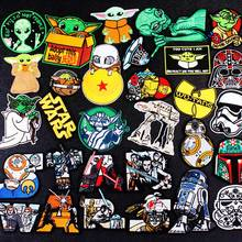 DIY Star Wars Patch Embroidery Iron On Mandalorian Yoda Embroidered Patches For Clothing Applique Alien Stripe Stickers