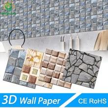 3d adesivos de parede de tijolo de mármore à prova ddiy água diy auto-adesivo decoração de fundo para sala de crianças papel de parede adesivo
