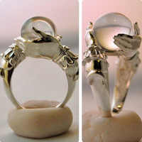 Einzigartige Ring für Frauen Natürliche Stein Runde Perlen Casual Finger Ringe Blau Kristall Quarz Silber Farbe Partei Schmuck