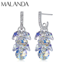 MALANDA New 925 Sterling Silver Long Drop Earrings Crystal From Swarovski Dangle Earrings For Women Luxury Personality Jewelry