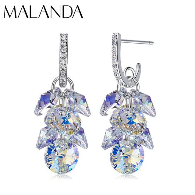 MALANDA New 925 Sterling Silver Long Drop Earrings Crystal From Swarovski Dangle Earrings For Women Luxury Personality Jewelry