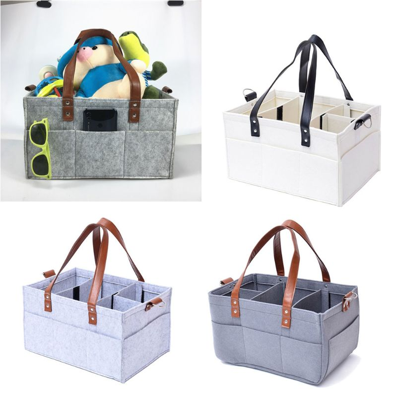 Nursery Storage Bin Felt Diaper Basket for Mom Newborn Kids Baby Diaper Caddy Organizer Portable Nappy Organiser with Detachable Compartments and Invisible Pockets
