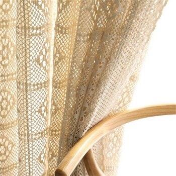 Cortina traslúcida ahuecada Retro, acabado en crochet, cortina de tul, tela americana de campo para sala de estar, dormitorio, personalizada #4