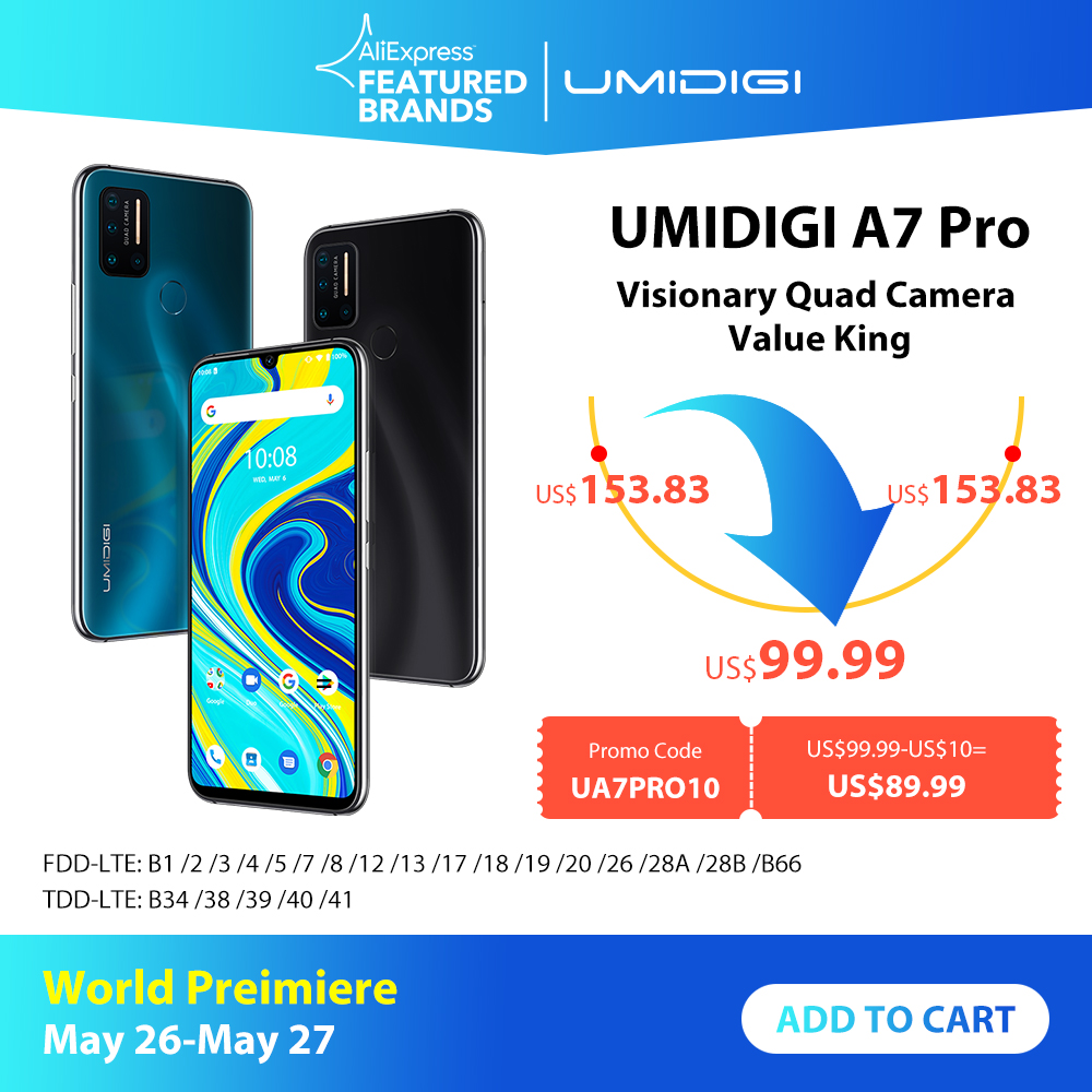 UMIDIGI A7 Pro Quad Camera Andriod 10 OS 6.3