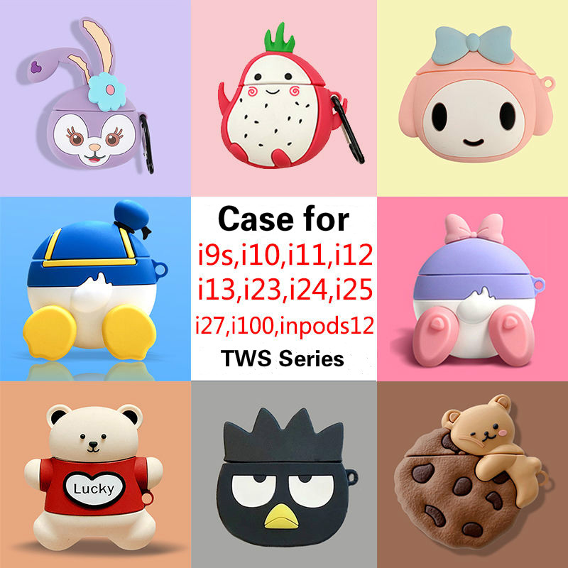 Bluetooth Earphone <font><b>Case</b></font> for Inpods 12 I12 <font><b>I11</b></font> I9s I10 <font><b>Tws</b></font> Protective Cover for Inpods I12 Box Key Ring Cute Cartoon Silicone image