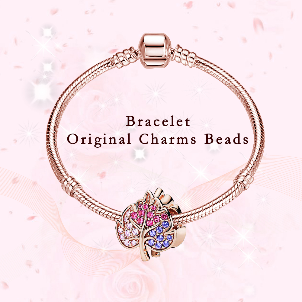 Fine Charm Bracelet DIY Beads 925 Sterling Silver Rose Gold Beads Fit Bracelet Charms Silver 925 Original Beads Jewelry Making