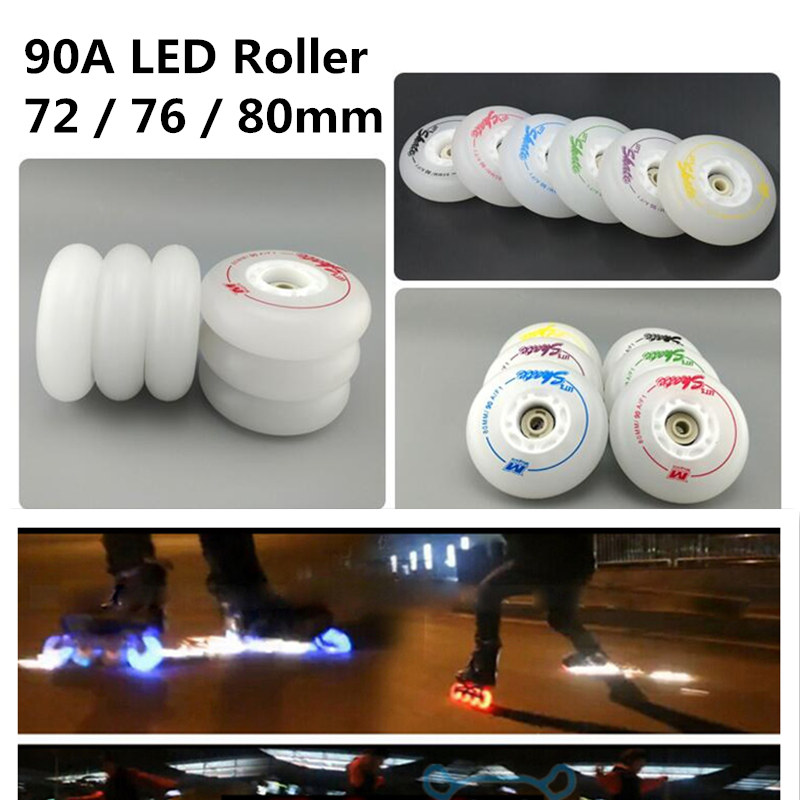 4 Pcs/lot 90A F1 LED Flash Inline Skates Wheel, 72mm 76mm 80mm F1 For SEBA For Powerslide For RB Roller Skate Wheels