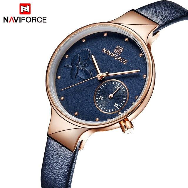 นาฬิกาผู้หญิงหรูหรา NAVIFORCE แบรนด์แฟชั่นควอตซ์ LADIES Rhinestone นาฬิกานาฬิกาข้อมือนาฬิกาสีฟ้านาฬิกา Relogio Feminino