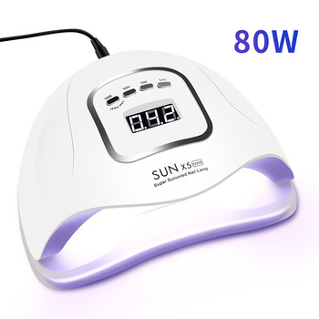 80W LED Nail Lamp for Manicure Nail Dryer Machine UV Lamp For Curing UV Gel Nail Polish With Motion sensing LCD Display