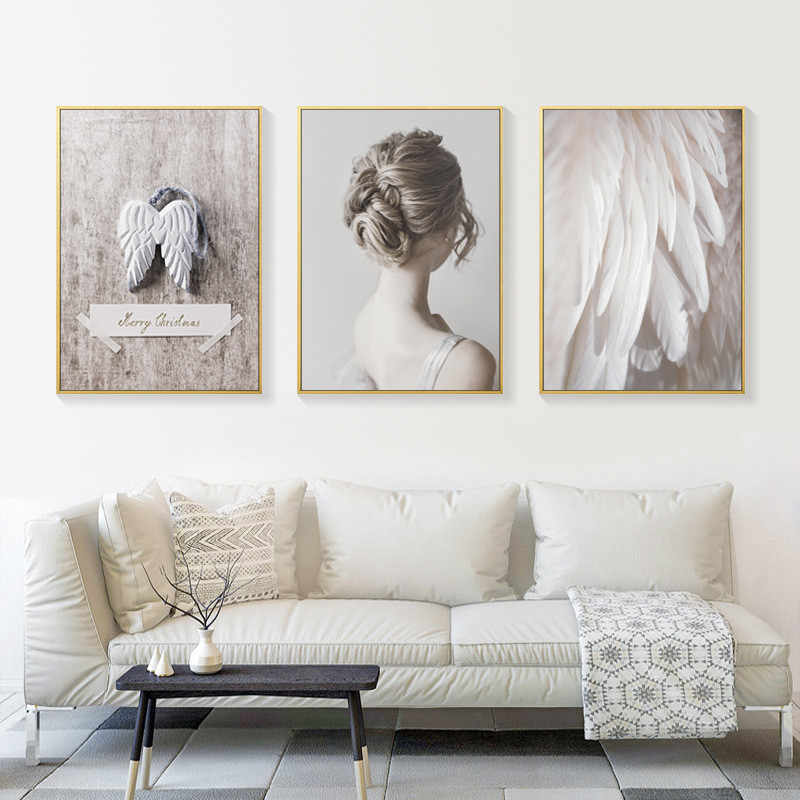 Scandinavian home decor woman Angel wings canvas painting feather posters and prints wall pictures for living room decoracion