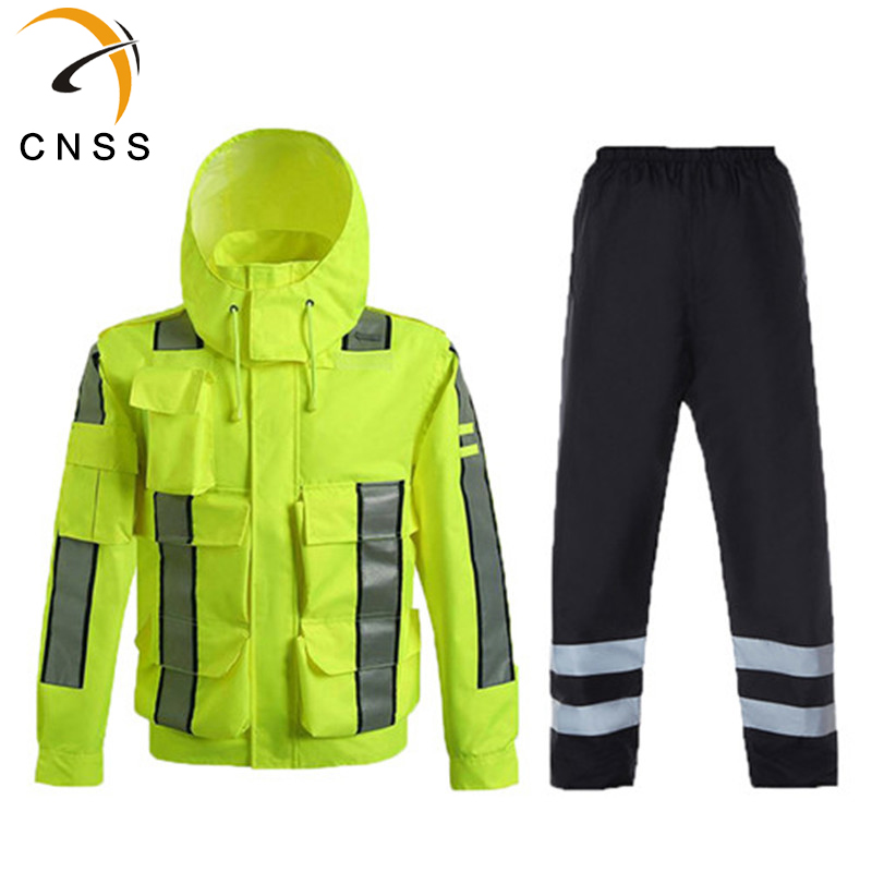 Mens Rainwear High Visibility Mens Outdoor Tops Workwear Multi-pockets Safety Reflective Work Jacket And Pants Free Shipping