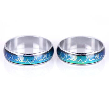 Emotion Feeling Changeable Mood Heart Rate Colorful Changing Magic Stainless Steel Couple Finger Ring Engagement Christmas Gift 3