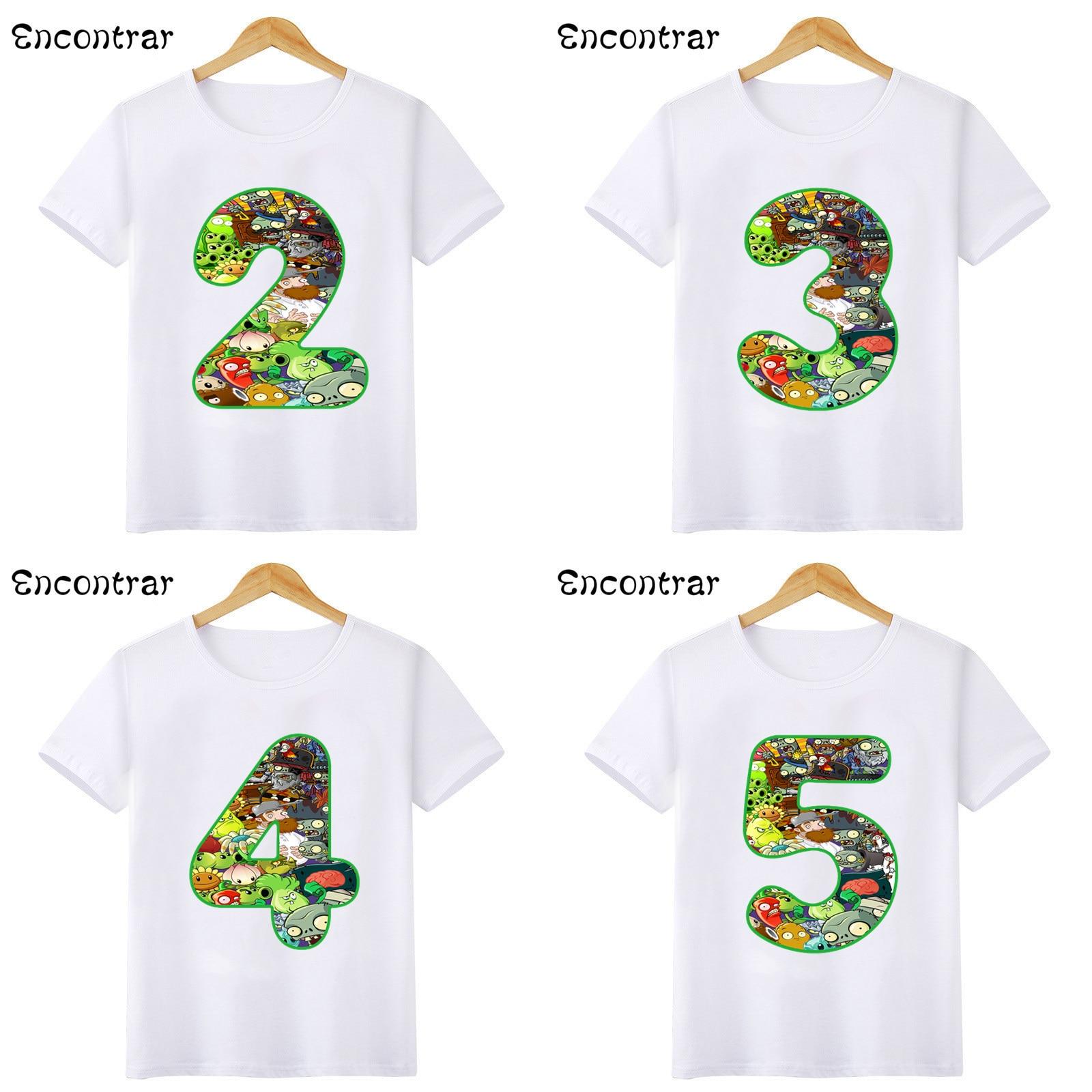 Kids Cartoon Plants T-shirts Baby Boys/Girls Happy Birthday Number 1-9 T shirt Children Short Sleeve Tops,HKP5376