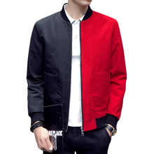 2019 spring men's fashion stand collar color matching embroidered casual jacket men's slim large pocket decorative casual jacket